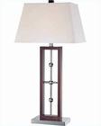 Lite Source Chrome  Walnut w/ White Pharell Table Lamp LSF-21529