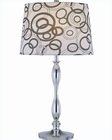 Lite Source Chrome Printed w/ Fabric Shade Cirkel Table Lamp LSF-21591
