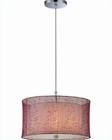 Lite Source Chrome w/ Burgundy Organza Shade Pendant Lamp LS-19610