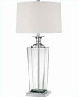 Lite Source Clear Glass Body w/ White Barnabas Table Lamp LS-22102CLR