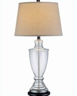 Lite Source D.Brz Clear w/ Glass Body Beige Table Lamp LS-21659
