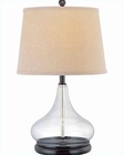 Lite Source D.Brz Clear with Glass Body Beige Table Lamp LS-21658