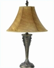 Lite Source Dark Bronze with Leather Painted Shade Table Lamp LS-3880