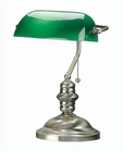 Lite Source Desk Task Lamp in Brass Green Glass LS-224AB