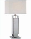 Lite Source Fetta Table Lamp in PS Metal Body Fabric Shade LSF-21242
