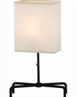 Lite Source Gun Metal with Off White Fabric Shade Table Lamp LS-3447