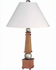Lite Source Honey Wood Silver White Table Lamp LS-3459HON-SIL