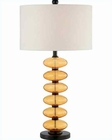 Lite Source in Black Amb Glass Deco Perilla Table Lamp LS-21390