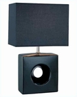 Lite Source in Black Ceramic Body Kub Table Lamp LS-21554BLK-BLK