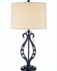 Lite Source in Black Crystal w/ Deco. Linen Shade Table Lamp LS-21642