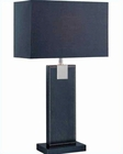 Lite Source in Black Leather Remigio Table Lamp LS-21282BLK-BLK