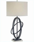 Lite Source Black PS off White Fabric Shade Table Lamp LSF-21624
