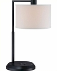 Lite Source Black w/ White Fabric Shade Table Lamp LS-22120BLK-WHT