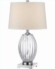 Lite Source Chrome Acrylic White Fabric Shade Table Lamp LS-22083C-WHT