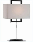 Lite Source Chrome Blk w/ White Hartwell Table Lamp LS-21695C-WHT