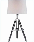 Lite Source Chrome Blk w/ Wht. Fabric Shade Table Lamp LS-21678