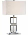 Lite Source Chrome Crystal White Fabric Shade Table Lamp LS-22124