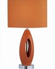 Lite-Source in Chrome Orange Fabric Shade Nakia table lamp LS-21860ORN