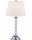Lite Source in Chrome White Fabric Shade Aria Table Lamp 100W LS-22125