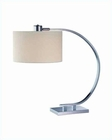 Lite Source in Chrome White Fabric Shade Axis Table Lamp LS-21652