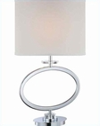 Lite Source in Chrome White Fabric Shade Renia Table Lamp LSF-22072