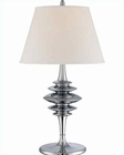 Lite Source Chrome White Fabric Shade Shinta Table Lamp LS-22085C-WHT