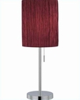 Lite Source Chrome Merlot Crinkled Fabric Table Lamp LS-21558C-MER