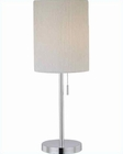 Lite Source Chrome White Crinkled Fabric Table Lamp LS-21558C-WHT