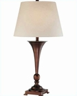 Lite Source Copper Bronze Linen Fabric Shade Hamza Table Lamp LS-21634