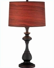 Lite Source D.Bronze w/ Wood Printed Vinyl Shade Table Lamp LS-21690