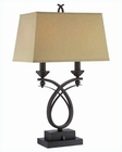 Lite Source Dark Bronze Beige Fabric Shade Kindle Table Lamp LS-21702