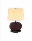 Lite Source Dark Walnut Beige Fabric Shade Buluga Table Lamp LS-2734