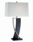 Lite Source Dark Walnut PS Off Wht. Fabric Shade Table Lamp LS-21788
