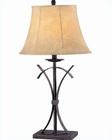 Lite Source in Gold Rust with Faux Leather Shade Table Lamp LS-20344