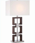 Lite Source PS Dark Walnut Finished White Fabric Table Lamp LS-22078