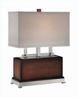 Lite Source in PS Dark Walnut Suede Shade Table Lamp LS-21638