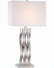 Lite Source in PS White Fabric Shade Hamo Table Lamp LS-22075