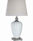 Lite Source in PS White Fabric Shade Leola Table Lamp LS-21888