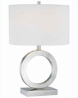 Lite Source in PS with White Fabric Shade Table Lamp LS-21540