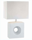 Lite Source White Ceramic Body Fabric Shd. Table Lamp LS-21554WHT-WHT