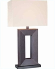 Lite Source Leather with Fabric Shade Marco Table Lamp LSF-20325LTR