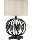 Lite Source Metal Body Fabric Shade Topaz Table Lamp LSF-22166