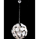 Chrome Finish Lite Source LS-1937WHT//MOS Pendant with White Glass Shades