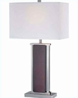 Lite Source PS Dark Walnut w/ White Fabric Shade Table Lamp LSF-21118