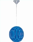 Lite Source PS w/ Blue Pleated Vinyl Shade Pendant Lamp LS-1925PS-BLU