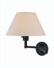 Lite Source Swing Arm Wall Lamp Black with White Shade 23W LSF-1171BLK