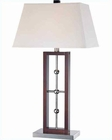 Lite Source Table Lamp Chrome  Walnut w/ White Fabric Shd LS-21529