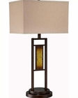 Lite Source Table Lamp  Brz. w/ Deco. Linen Warner LS-22146