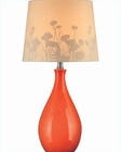 Lite Source Table Lamp ORN Ceramic Body Silhouette Paper LS-21489ORN