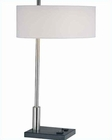Lite Source Table Lamp PS Blk w/ Wht Fabric Outlet Funktions LS-21396